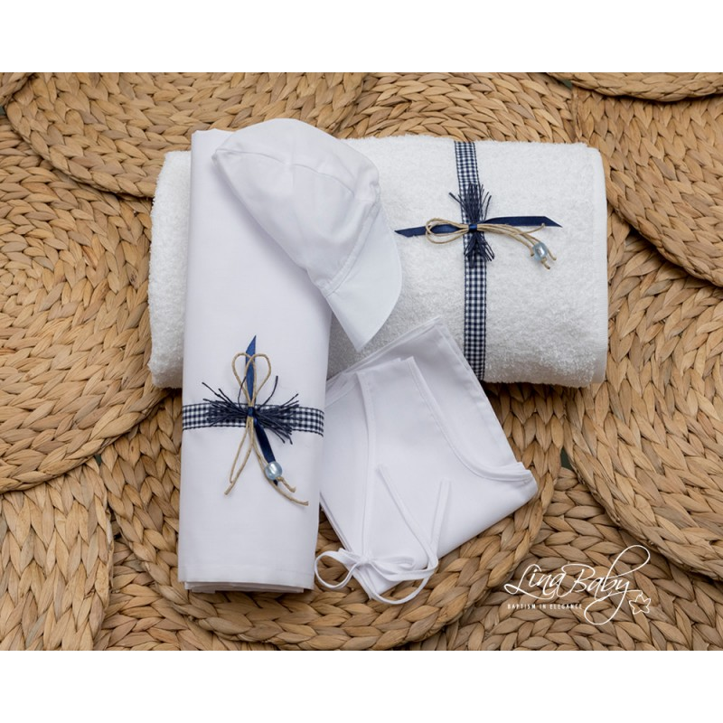 Ladopana for boy-  Plaid blue bow
