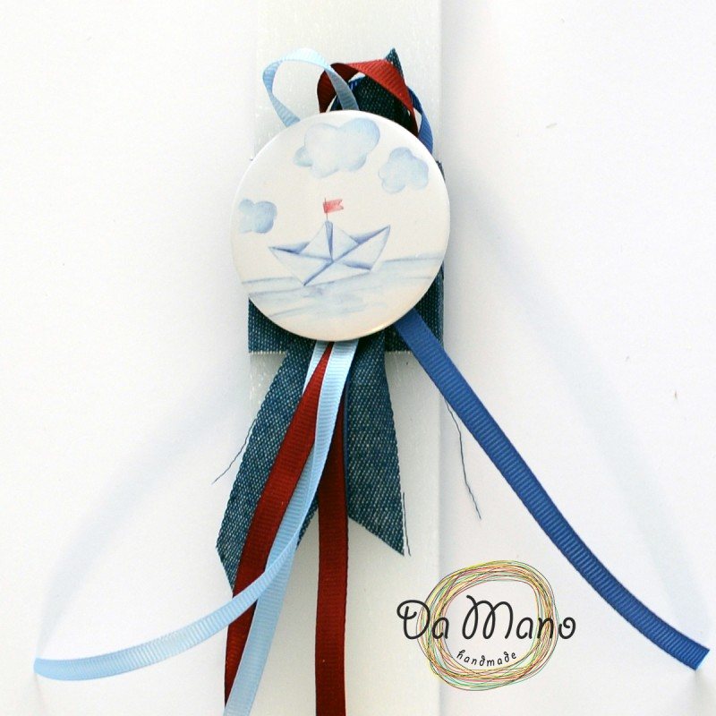 Easter Candle -with badge pin -Paper boat