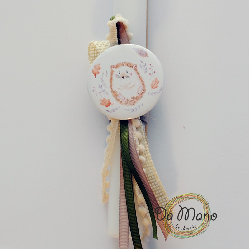 Easter Candle -with badge pin - Woodland Hedgehog