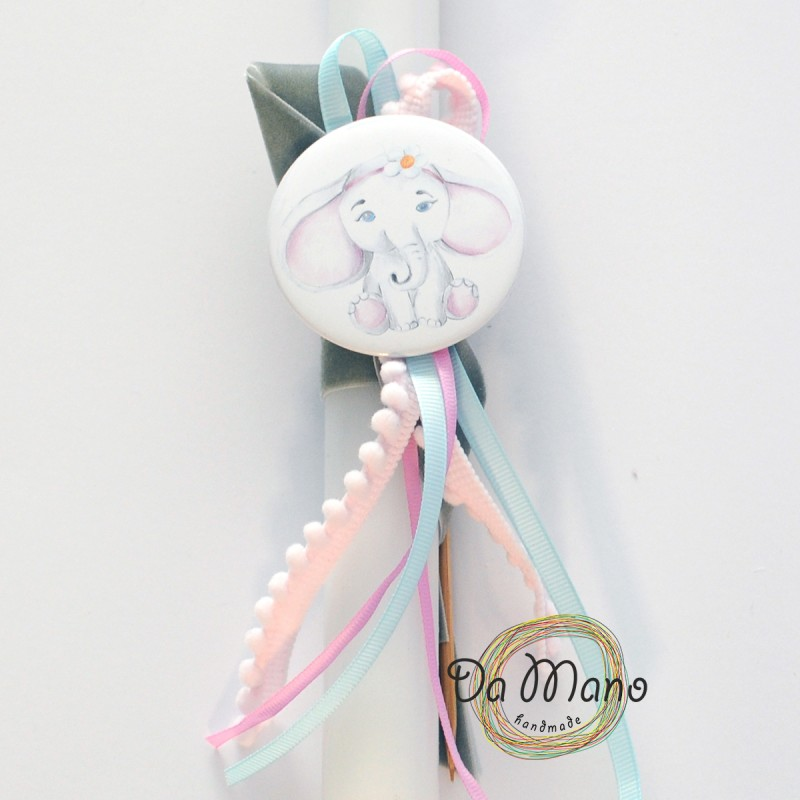 Easter Candle -with badge pin - Little Elephant
