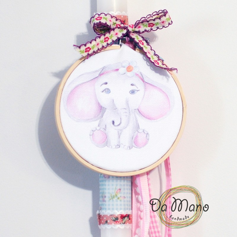 Easter Candle -with embroidery frame -  Elephant