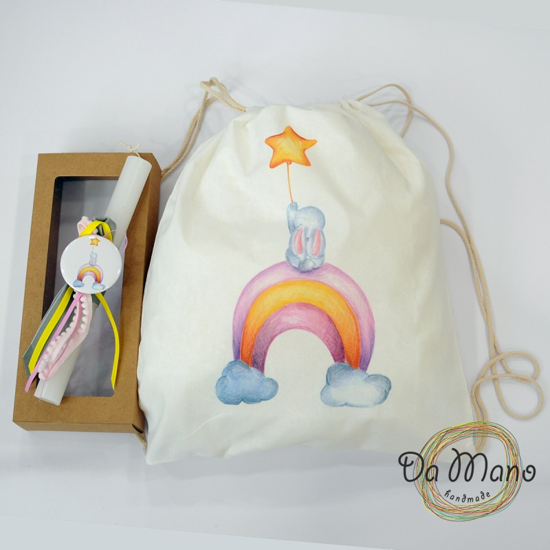 Easter Candle -with badge pin - Bunny