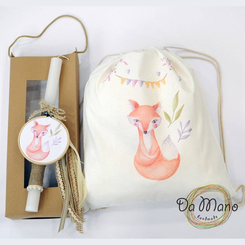 Easter Candle -with embroidery frame -  Woodland Fox