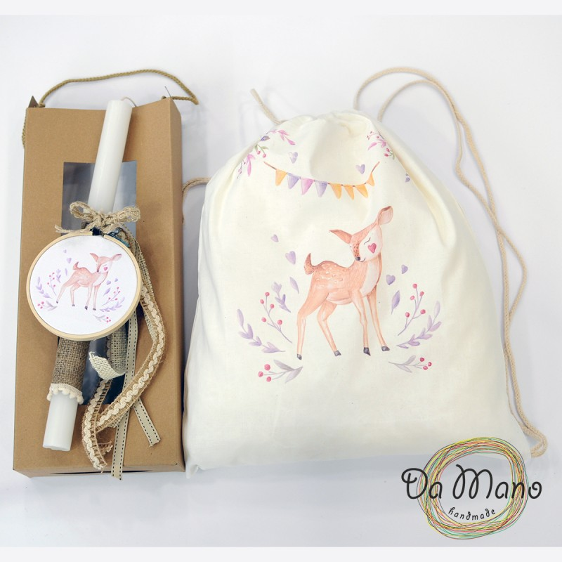 Easter Candle -with embroidery frame -  Woodland Deer