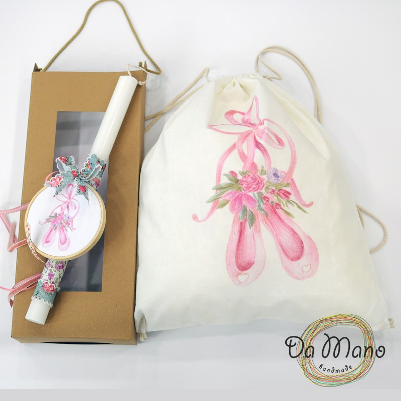 Easter Candle -with embroidery frame -  Ballet Shoes